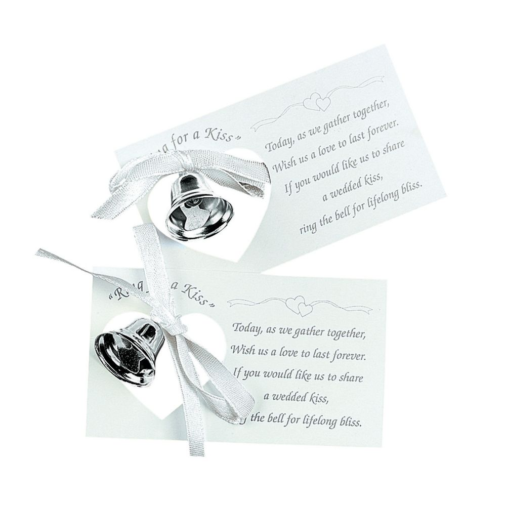 Silvertone Wedding Bell on A Card - Party Decorations & Place Card