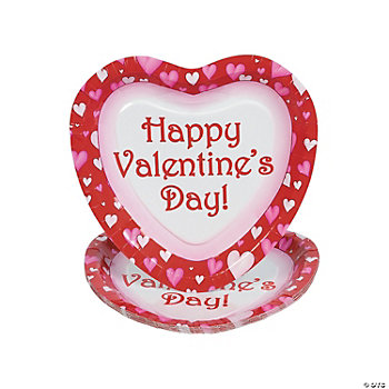 """Happy Valentine's Day!"" Heart-Shaped Plates"