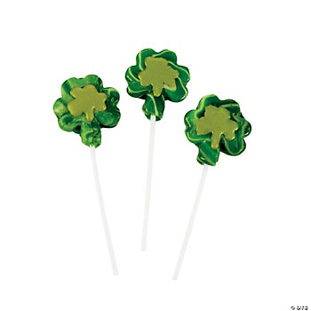 Shamrock-Shaped Swirl Pops