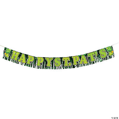 "Metallic ""Happy St. Pat's"" Fringed Banner"
