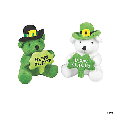 Plush St. Patrick's Day Bears with a Shamrock