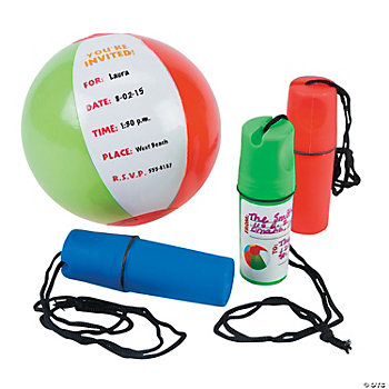 Beach ball invitation in containers oriental trading for Pool trading