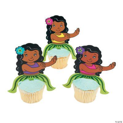 Hula Girl Character Cupcake Picks