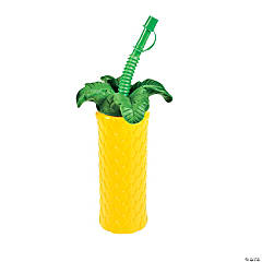 Palm Tree-Shaped Cups With Lid & Straw