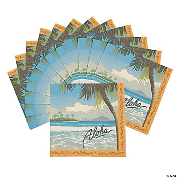 16 Vintage Postcard Luau Lunch Napkins