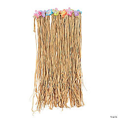 Adult's Natural Raffia Flowered Hula Skirts