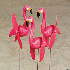 Twirling Flamingo Yard Stakes