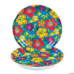 Disposable Plastic Tropical Hibiscus Plates