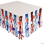 Patriotic Fringe Table Skirt With Star Cutouts