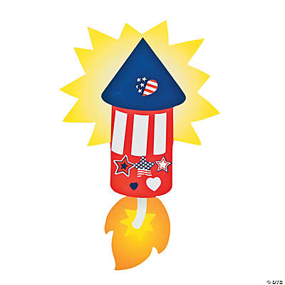 Patriotic Die Cut Rocket Sticker Scenes