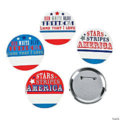 Patriotic Word Name Buttons