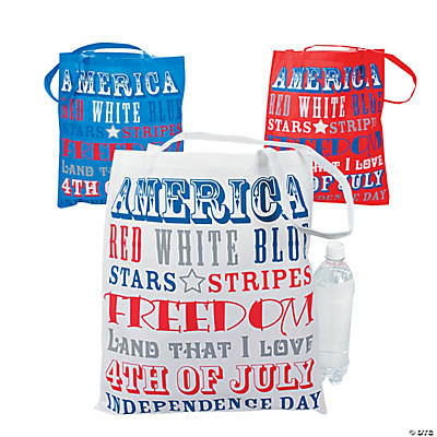 Large Patriotic Word Tote Bags