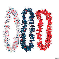Red, White & Blue Star Print Leis