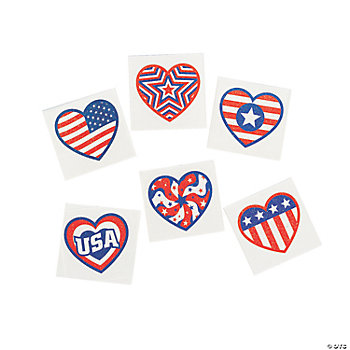 Patriotic Glitter Heart Tattoos