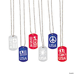 Patriotic Cut-Out Dog Tag Necklaces