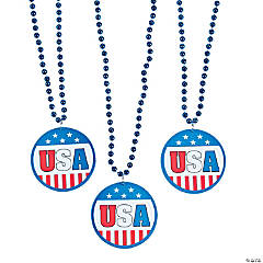 Patriotic Flag Beaded Necklace