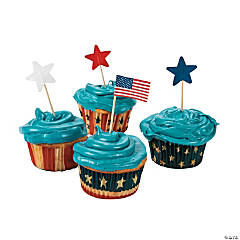 Patriotic Cupcake Liners with Picks