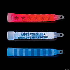 Personalized Red, White & Blue Glow Sticks