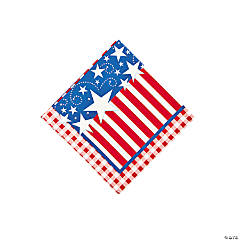 Patriotic Gingham Beverage Napkins