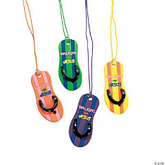 """Walking with Jesus"" Plastic Flip Flop Necklaces"