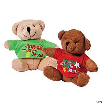 "Plush ""Jingle With Joy For Jesus"" Bears With Shirts"