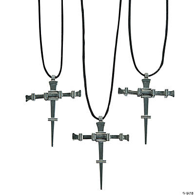 Pewtertone Nail Cross Necklaces