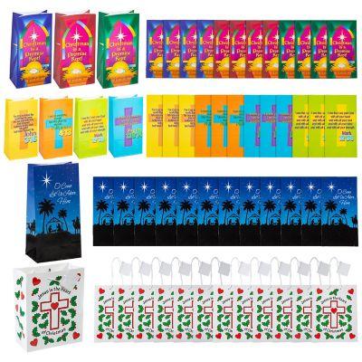 Christian Christmas paper gift bags bulk
