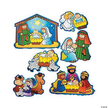 Chinese Silver Grass Nativity Cutouts - Ori...