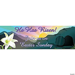"Personalized Medium ""He Has Risen"" Banner"