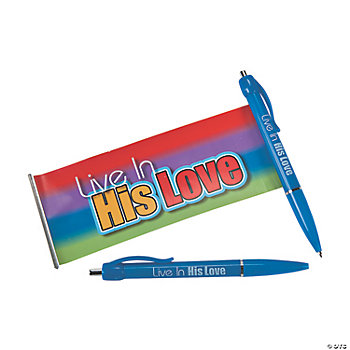 "Religious ""Live In His Love"" Scroll Pens"