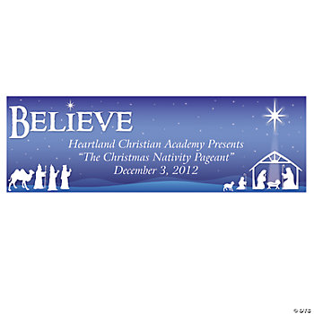 "Personalized Nativity ""Believe"" Banners - Medium"