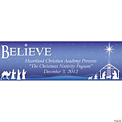 "Personalized Nativity ""Believe"" Banners - Large"