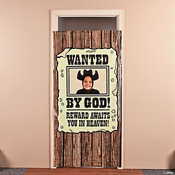 """Wanted By God!"" Photo Door Banner"
