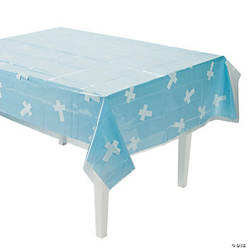 Clear Cross Print Table Cover