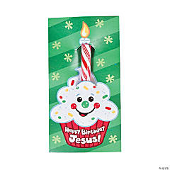 """Happy Birthday Jesus!"" Candy Canes on Card"