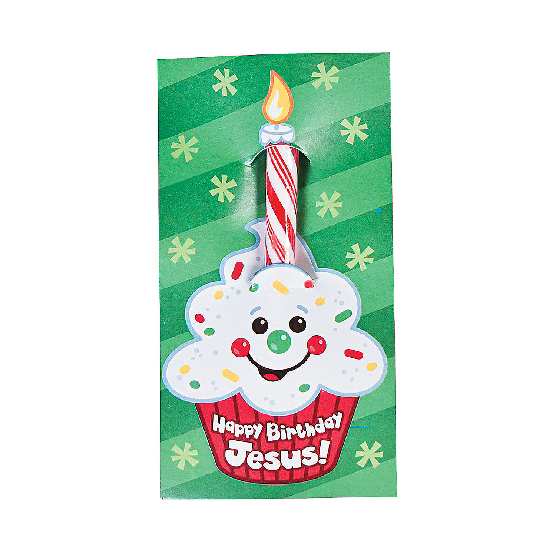 """Happy Birthday Jesus!"" Candy Sticks On Card"