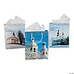 Medium Snowy Church Gift Bags With Tags