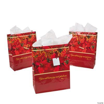 Large Religious Poinsettia Gift Bags
