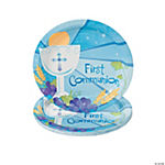 "Blue ""First Communion"" Dessert Plates"