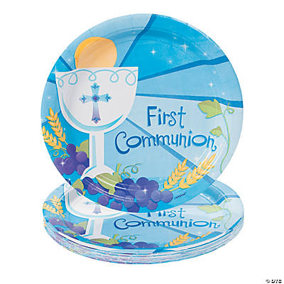 "Blue ""First Communion"" Dinner Plates"