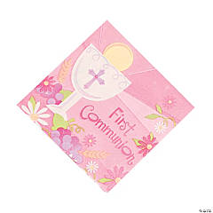 "Pink ""First Communion"" Luncheon Napkins"
