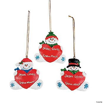 "Resin ""Jesus Loves You Snow Much"" Personalized Christmas Ornaments"