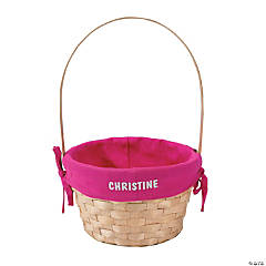 Personalized Easter Baskets with Pink Liner