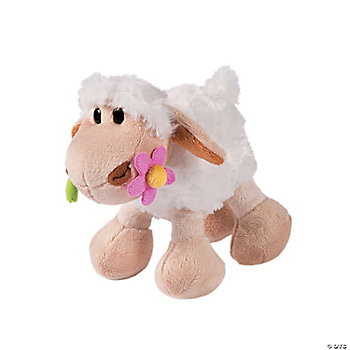 Plush Lambs With Flower