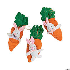 Plush Bunnies In Carrot Pouches