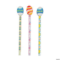 Egg Eraser-Topped Pencils