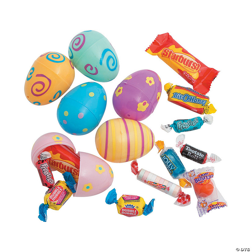 Candy Filled Pastel Printed Plastic Easter Eggs