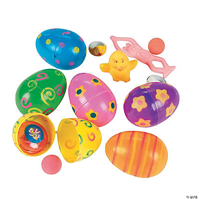 Bright Toy-Filled Patterned Easter Eggs