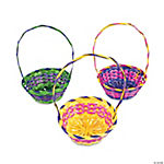 Bamboo Multi-Colored Round Easter Baskets