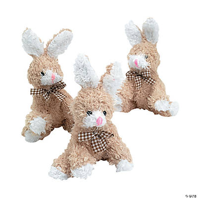 Plush Scruffy Brown Bean Bag Bunnies